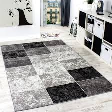 Black And White Modern Rug by Designer Rug Chequered In Marble Visual Effect Flecked Grey Black