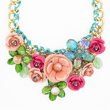 flower necklace images Rose garden bib chunky flower statement necklace by shamelessly jpg