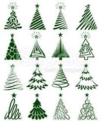 christmas trees sketches collection free vector christmas 2014