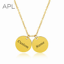 monogram pendant name words engraved gold color discs chokers personalized custom