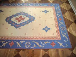 Faux Painted Floors - painted faux oriental rug and checkerboard dining room floor