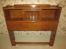 ethan allen twin sliding door bookcase headboard heirloom nutmeg