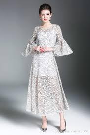 2017 fashion dress bell sleeve latest long skirt design 3 4 sleeve