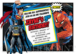 fabulous batman superman spiderman birthday invitations with