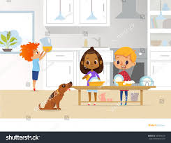 children cleaning kitchen two multiracial kids stock vector