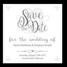 wedding invitations kilkenny grey white heart save the date 124mm x 124mm wedding cards direct