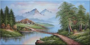 river mountain and cottage landscape painting classic 36 x
