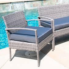 Turquoise Patio Chairs 4pcs Outdoor Rattan Wicker Patio Set Garden Lawn Sofa Chair