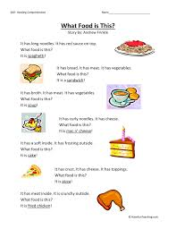 what food is this reading comprehension worksheet