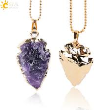 rock crystal quartz necklace images Csja natural purple rock crystal quartz arrowhead necklaces jpg