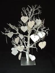 large wedding wishing tree guest book silver table decoration