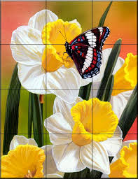 kitchen mural ideas tile mural daffodils and butterfly kitchen backsplash ideas