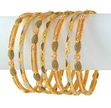 multi tone gold bracelet images Gold multi tone bangle set ajba50872 22k gold multi tone jpg