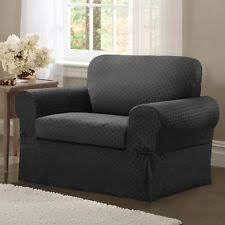Charcoal Slipcover Check Furniture Slipcovers Ebay
