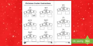 christmas cracker contractions activity sheet christmas