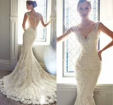 ivory wedding dresses vintage ivory lace bridal gowns mermaid wedding dresses 6 8