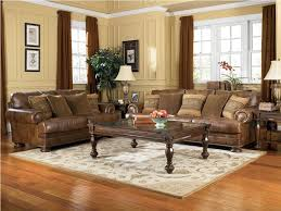 Oak Livingroom Furniture Classic Living Room Design With Brown Leather Couch Living Room