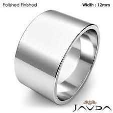 plain wedding bands men plain wedding band flat pipe cut ring 12mm 14k white gold 11 5