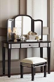 Espresso Vanity Table Hayworth Silver Mirror U0026 Vanity Vanities Desks And Glass