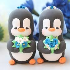same wedding toppers personalised same penguin wedding cake toppers