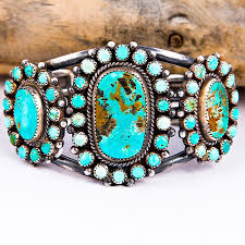 natural turquoise stone mike platero navajo natural turquoise cluster bracelet sterling