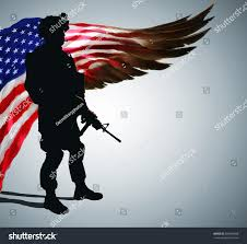 Army Service Flag Silhouette Army Soldier Front Stilyzed Us Stock Illustration