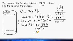 Surface Area And Volume Worksheets Grade 7 Find The Height Of A Cylinder When Given The Volume And Radius