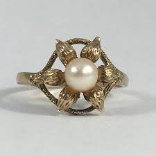 4th anniversary gift ideas vintage pearl ring 9k yellow gold graduation gift june