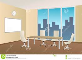 office meeting room beige table chair window illustration stock