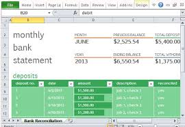 Free Bank Statement Template Excel Monthly Bank Reconciliation Template For Excel