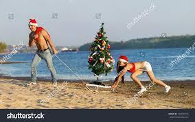 santa pulling christmas tree on sled stock photo 122409718