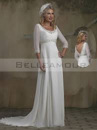 robe de mari e classique robe de mariée classique longue col rond empire 3 4 manches gaine