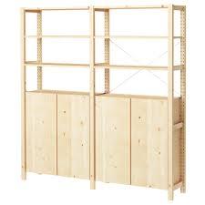ivar 2 section shelving unit w cabinet pine shelves solid pine