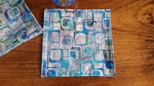 batik napkins mod turquoise geometric design fabric napkins set of