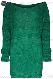 womens ladies off the shoulder chunky knit oversized tunic sweater