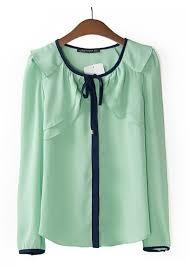 green chiffon blouse light green patchwork neck wrap chiffon blouse blouses tops