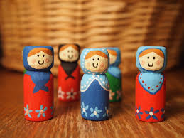 handmade christmas matryoshka baboushka or kokeshi ornaments or