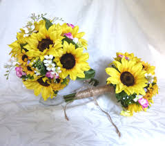 Sunflower Wedding Bouquet Sunflower Wedding Country Wedding Sunflower And Lilac Bouquet