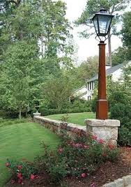 wood lamp post with hand painted texture style outdoors