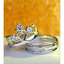 buy fashion rings images Buy fashion beauty store pack of 2 zircon silver lovers and jpg