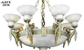 Antique Alabaster Chandelier Art Deco Grand Alabaster Bowl Chandelier Antique Eight Light