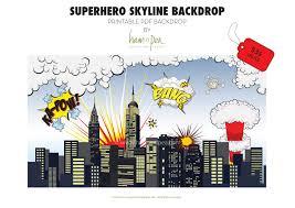 Superhero Backdrop Superhero Skyline Explosion Backdrop Pdf File