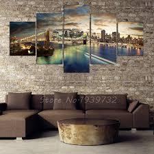 5 panel new york city landscape canvas home decor wall art