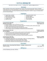 Resume Samples It Professionals by Best Communications Specialist Resume Example Livecareer