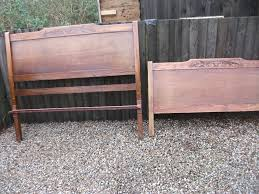 Wood Head And Footboards Pair Of Antique Solid Oak Engraved Wooden Head And Foot Boards
