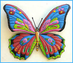 Funky Garden Decor Painted Metal Butterfly Wall Hanging Whimsical Art Design
