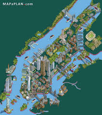 Birds Eye View Map Nyc S Most Iconic Attractions Landmarks Map Best Manhattan Bright