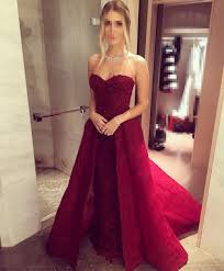 lace sweetheart long burgundy evening dress 2017 sleeveless prom