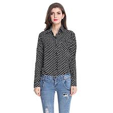 black polka dot blouse amazon com quesera s polka dot blouses sleeve collared