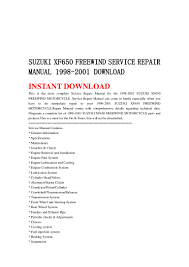 suzuki xf650 freewind service repair manual 1998 2001 download